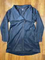 Eileen Fisher Fleece Lined Long Full Zip Winter Coat  Jacket Women's XS Black