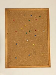 "Vintage Wood Frame Cork Bulletin Board Messages 17.5"" x 23"" w/Push Pins Tacks"