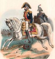 Gravure XIXe Général de Division Aide de Camp Napoléon Bonaparte Grande Armée