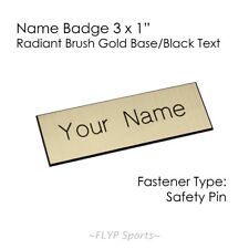 "Name Badge Tag Plate Radiant Gold/Black Safety Pin 3x1"" Personalised Engraved..."