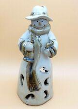 Snowman Candycane Punched Ceramic Luminary Lantern Candle Holder Stone Glazed