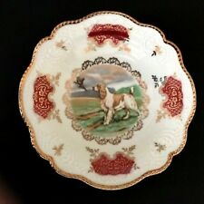 Zeh Scherzer Bavaria Germany Porcelain Dish Game Dog Spaniel Bird Gold Rim Small