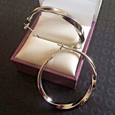 Z18 White gold filled 'twisted hoop' earrings LARGE 36mm x 3.5mm Plum UK BOXED