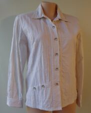 Animale size 12 designer white beige stripe top cotton/poly long sleeve