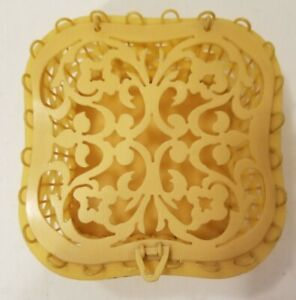Antique Celluloid Sewing Basket Box Carved Top Hand Made IVORY PYRALIN Vanity