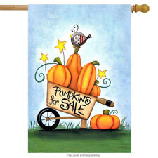 "Pumpkins for Sale Primitive Fall House Flag Pumpkins Bird Autumn 28"" x 40"""
