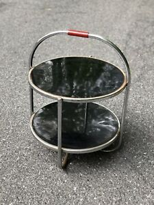 RARE 1930s WOLFGANG HOFFMANN Howell SIDE TABLE Chrome MACHINE AGE Art Deco 2Tier