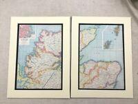 1920 Antique Prints Map of Scotland Scottish Highlands Aberdeen Banf Elgin