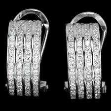 Sterling Silver Channel Set Bright White Lab Created Diamond Earrings
