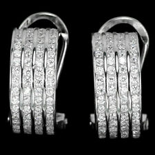 Sterling Silver 925 Channel Set Bright White Lab Created Diamond Earrings