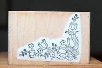 Tulip Floral Bouquet Corner Border Stamp Wood & Foam Backed Rubber Stamp
