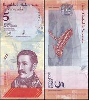 VENEZUELA 5 Bolivares Soberano, 2018, P-NEW, UNC World Currency