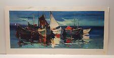 Jürgen Runge Boats at Anchor Vintage Lithograph German Art Print