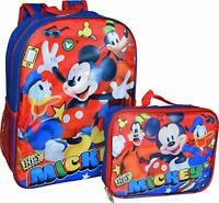 Disney Mickey Mouse Boys School Backpack Lunch Box SET Book Bag Kids Blue Gift