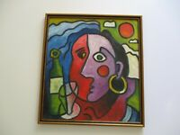 20 INCH GERALD ROWLES PAINTING EXPRESSIONIST ABSTRACT MODERNIST CUBISM CUBIST