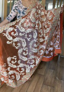 Orange Net Saree Heavy Embroidery Indian/ Asian party/ Wedding Bollywood outfit