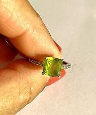 2.0 Peridot 14k White Gold Diamond Ring Size 7