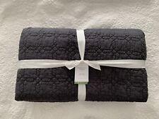New! Pottery Barn Belgian Flax Linen Trellis Quilt King Cal King~ Ebony $349 Nwt