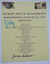 Jimi Hendrix Signed Woodstock 1969 Typed Set List Member Juma Sultan Jerry Velez