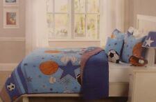3 pc Kids Expressions Sports and Stars Twin Quilt, Sham & Deco Pillow Set NIP