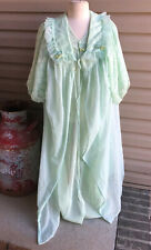 Vintage Small Mint Green SHEER CHIFFON Peignoir Robe&  Nightgown Lace Union Made