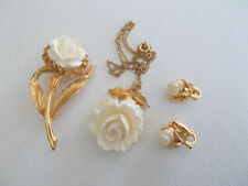 Vintage gold tone jewelry set, floral white roses, necklace, brooch, earrings