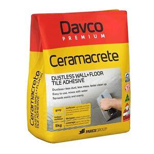 Ceramacrete Dustless 5 Kg Tile Adhesive Glue Bed Cement Davco Premium Wall Floor