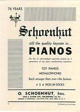 1948 PAPER AD Schoenhut Toy Piano Pianos Metallophones