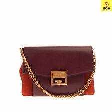 RRP €1845 GIVENCHY Leather Clutch Bag Suede Trim Chain Top Handle Made in Italy