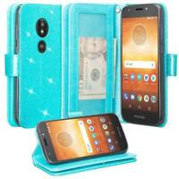 Motorola Moto E5 Plus, E5 Supra Case, Leather Magnetic Flip Stand Wallet Cover