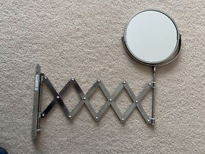 IKEA FRACK Extendable Stainless Steel Wall Round shave Mirror + Magnifying Glass