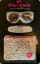 BETSEY JOHNSON Rose Gold Aviator Rx-able Sunglasses w/Accessories - SHIPS FREE!
