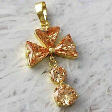 Yellow Gold Filled Womens Champagne Crystal Flower Pendant for long necklace