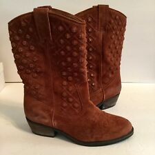 Lucky Brand Madonna Studded Boots 7 37 Distressed Brass Studs Cowboy Western EUC