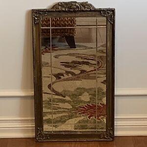 "Antique Wood Frame Gesso Beveled Mirror 26""x14.25"""