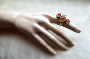 HANDMADE Yellow Agate + Carnelian RING -Unusual,Gorgeous,High Quality,size 8 1/2