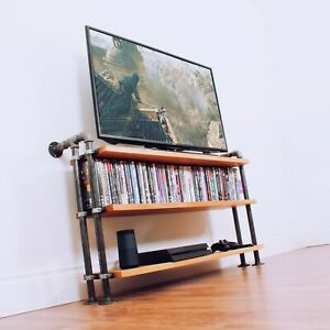 Solid Oak TV cabinet with industrial iron pipe