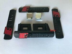 Gloss Black S Line Badge Emblem 1 Grill 3 Stickers for Audi A3 A4 A5 A6 A8 TT Q7
