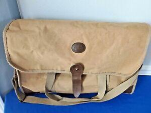 "Vintage Ralph Lauren Duffle Bag Canvas Leather Travel Tote Large Tan 22"" X 12"""