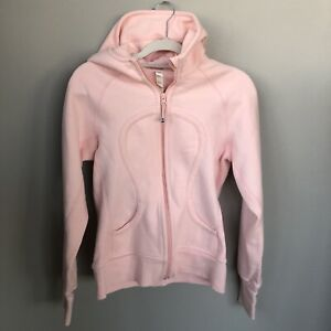 Lululemon Scuba full zip Hoodie light pale Pink sweatshirt Sz 8 Great Condition