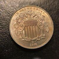1868 Shield Nickel Uncirculated Unc BU MS Type Coin 5c