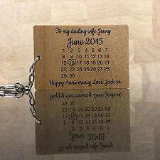 Personalised Wood Calendar Keyring Anniversary Wedding Valentines Love Gift