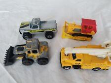 4 Matchbox Vintage Toy Cars: Bulldozer, snowplow, telephone utility, pick-up