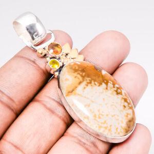 "Polka Dot Jasper & Citrine Two Tone Gold Plated 925 Silver Pendant 2.5"" S2682"