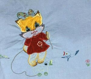 Vintage Embroidered & APPLIQUED Baby Flat Crib Sheet Blue Kitten Bassinett Cover