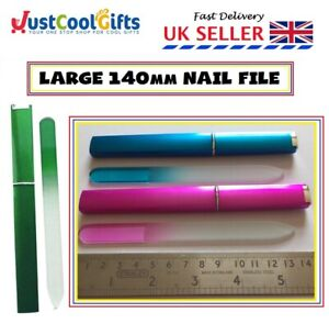 Large Glass Compact Nail File With Hard Case Ideal for Handbag UK SELLER