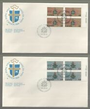 1984 Canada Papal Visit pair of Plate Block FDCs. First day Covers