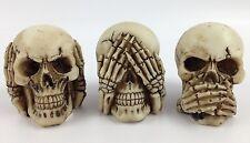 "Speak Hear See No Evil 2.25"" Skulls Skeleton Figure Gothic Halloween Decor"