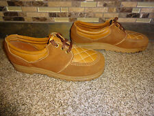 Vintage Womens Sz 7.5 Camel Brown Lace-up Platform Shoes Made in Usa