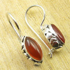 MARQUISE CARNELIAN FACTORY DIRECT Earrings Silver Plated Jewelry 2.5 cm NEW